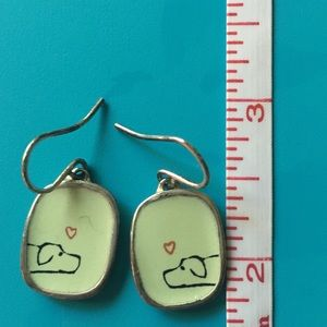 Jewelry - Silver and enameled dog earrings 😻